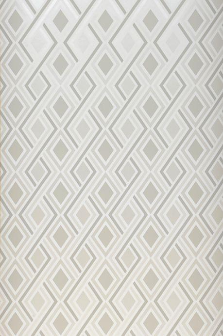 Papel pintado geométrico Papel pintado Iroko blanco crema brillante Ancho rollo