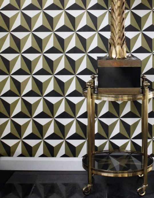 Geometric Wallpaper Wallpaper Limal pearl gold Room View