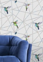 Wallpaper Kendale Matt Graphic elements Hummingbirds Grey white Blue Cream Green Rose Violet