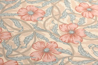 Wallpaper Esmeralda Matt Leaves Blossoms Floral damask Tendrils Cream Beige grey Brown red Mint turquoise Pastel turquoise Pale pink