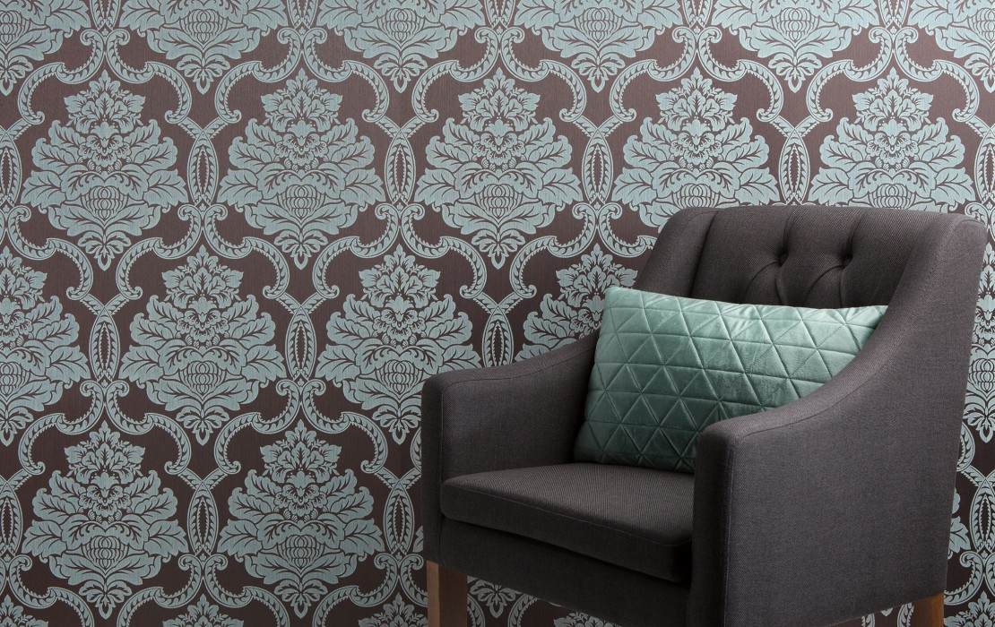 Wallpaper Amalia Matt pattern Shimmering base surface Baroque damask Black grey Pale green Light grey