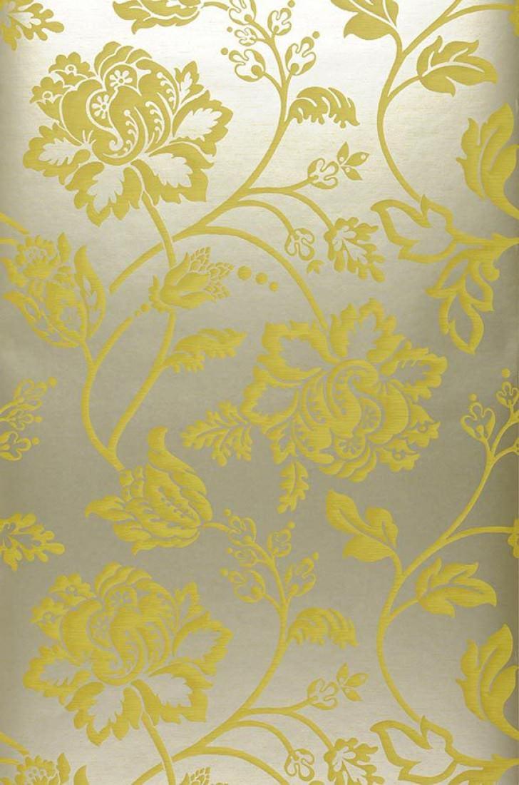 Carta da parati ninkasi oro bianco giallo verdastro for Carta da parati damascata oro
