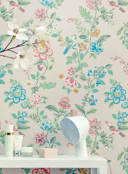 Wallpaper Miri Hand printed look Matt Flower tendrils Birds White grey Beige Dark blue Pastel green Red Turquoise blue
