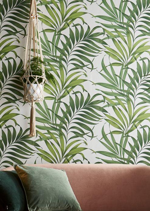 Papel pintado botánico Papel pintado Paradiso verde helecho Ver habitación