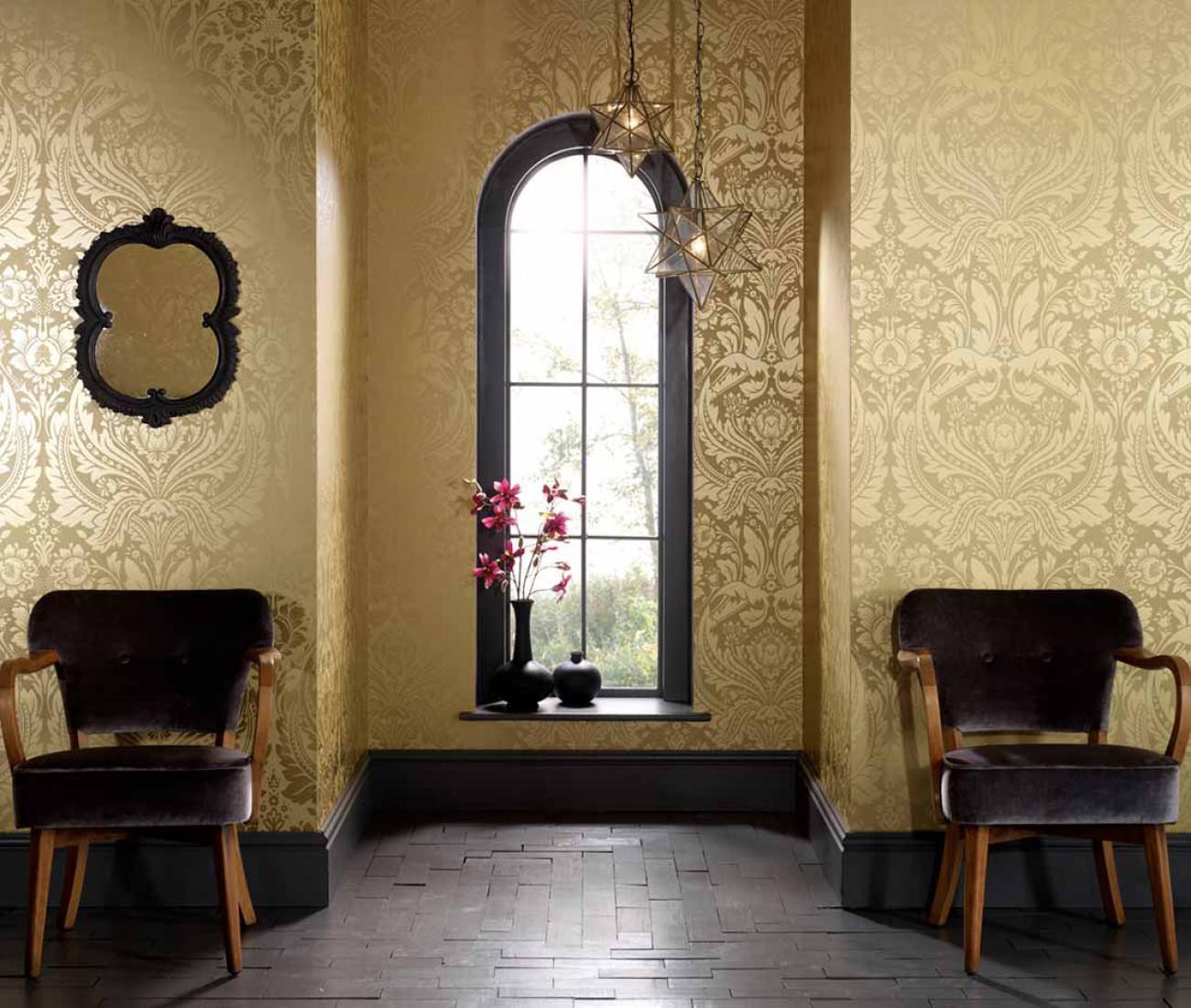 tapeten wohnzimmer gold : Tapete Manus Blasssandgelb Gold Tapeten Der 70er