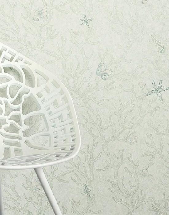 Papier peint Laurin Motif chatoyant Surface mate Coraux Coquillages Coquille d'escargots Étoile de mer Blanc vert Blanc crème brillant Bleu pâle chatoyant Vert blanchâtre chatoyant