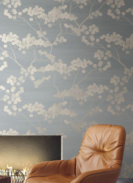 Papier peint botanique Papier peint Rajapur gris clair nacré Vue pièce