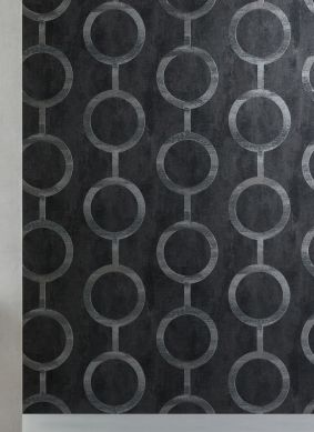Wallpaper Florin black grey Room View