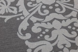 Wallpaper Aramas Matt Looks like textile Baroque damask Dark grey Light grey glitter