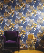 Wallpaper Venaria Matt Leaves Cream Ochre Pastel yellow Black blue Violet blue