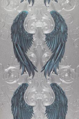 Papel de parede Morrigan azul escuro Largura do rolo