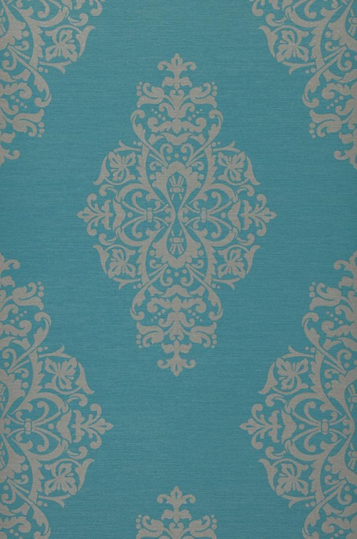 Papel pintado aramas turquesa gris beige claro for Papel pintado barroco