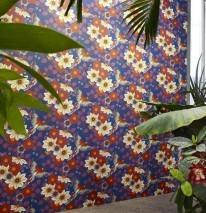 Wallpaper Cecile Matt Flowers Parrots Blue Blue grey Cream Orange Red