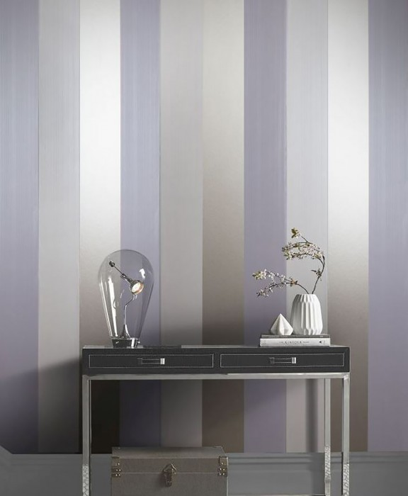 Wallpaper Sankara Shimmering Stripes Cream Gold shimmer Light lavender