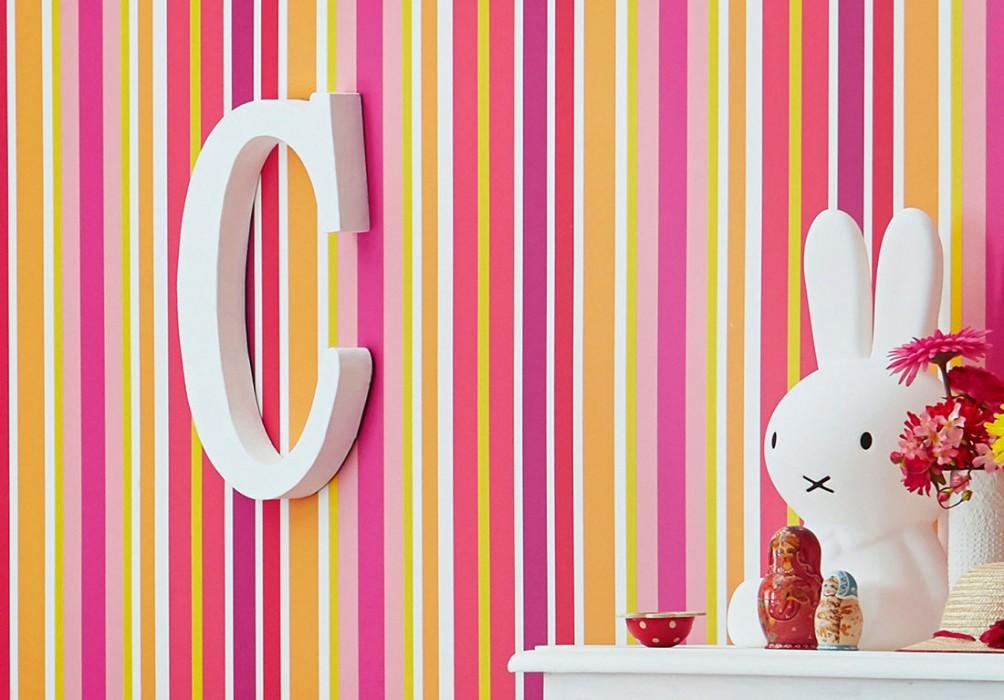 Papel de parede Jama Mate Listas Branco creme Amarelo mel Laranja Rosa Vermelho