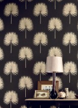 Wallpaper Lysander Shimmering pattern Matt base surface Palm fronds Black grey Matt gold