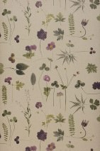 Wallpaper Tuina Matt Field flowers Light grey beige Grey brown Olive green Violet