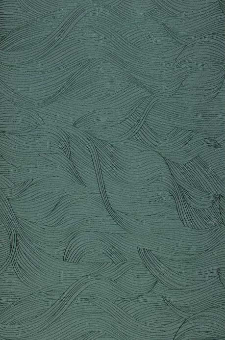 Papel pintado moderno Papel pintado Abanico verde menta Bahnbreite