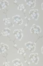 Papier peint Larina Aspect impression à la main Mat Guirlandes de fleurs Gris soyeux Bleu pâle Brun pâle Gris olive Vert olive Blanc