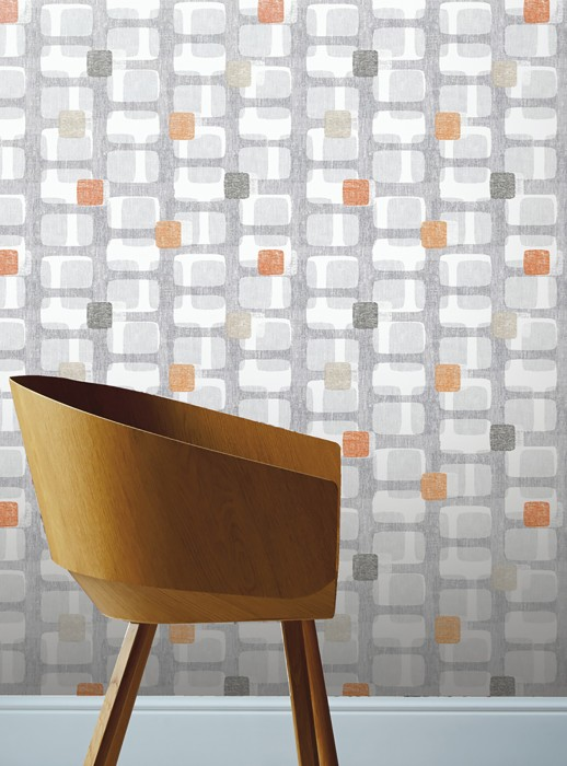 Wallpaper Majana Matt Rounded rectangles Retro design White Grey Light grey Red orange Black