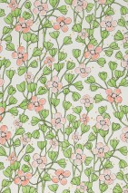 Wallpaper Videnna Matt Flower tendrils White Gold shimmer Light green Red orange