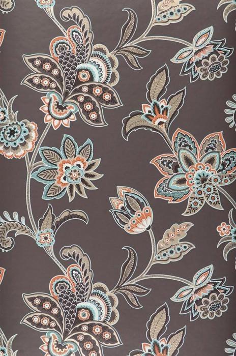 Wallpaper Marcia Matt Stylised flowers Brown grey Cream Gold Orange Pastel turquoise