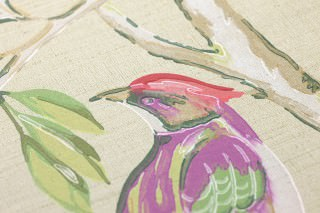 Wallpaper Fatima Hand printed look Matt Lotus branches Birds Light beige Grey white Green Ruby red Sand yellow Violet