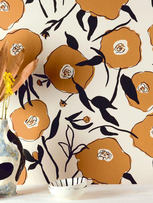 Papel pintado floral Papel pintado Kanoko marrón arcilla Ver habitación