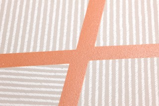 Wallpaper Kamolee Matt Graphic elements Cream Grey beige Orange brown