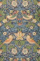 Wallpaper Faunus Matt Leaves Blossoms Strawberries Birds Grey blue Beige red Gorze yellow  Light ivory Red Red orange Pigeon blue
