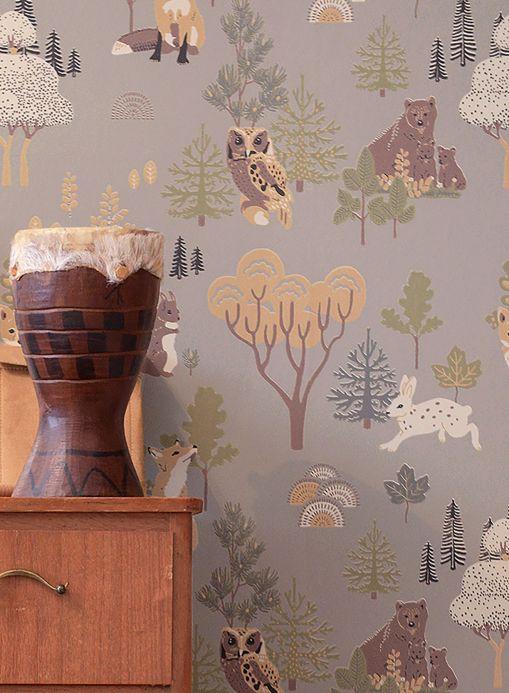 Papier peint de Majvillan Papier peint Deep Forest gris Vue pièce