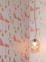 Wallpaper Otavio Shimmering pattern Matt base surface Art Deco Geometrical elements Grey Grey white shimmer Pearlescent copper