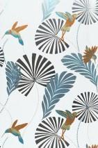 Papel de parede Colibri Padrão reluzente Superfície base mate Folhas Beija-flores Branco Laranja lustre Prata Turquesa lustre