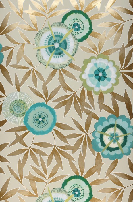 Wallpaper Sefina Matt Leaves Stylised blossoms Cream Beige shimmer Pale green Green Sand yellow shimmer Turquoise blue Water blue