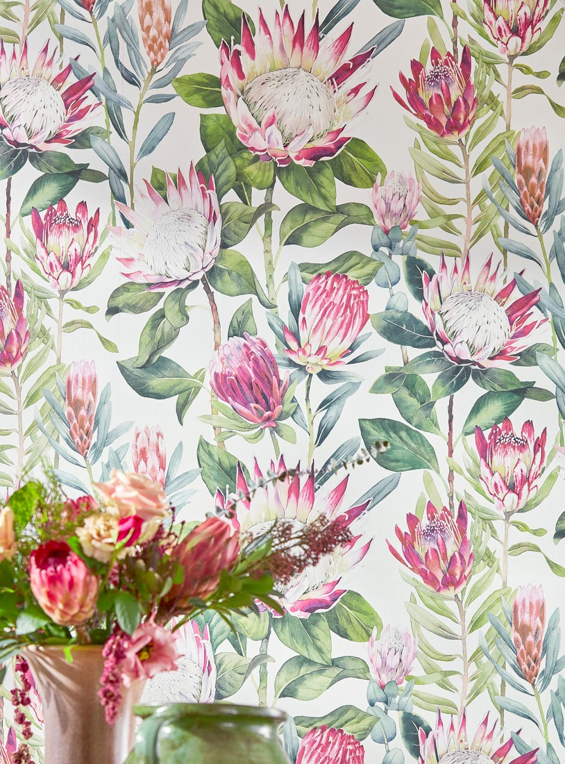 Wallpaper Paloma White Ivory Heather Violet Shades Of Green