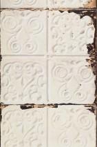 Papel pintado Brooklyn Tins 02 Mate Shabby chic Imitación baldosas de hierro esmaltadas Marfil claro Gris pálido Marrón beige claro Marrón negruzco Blanco