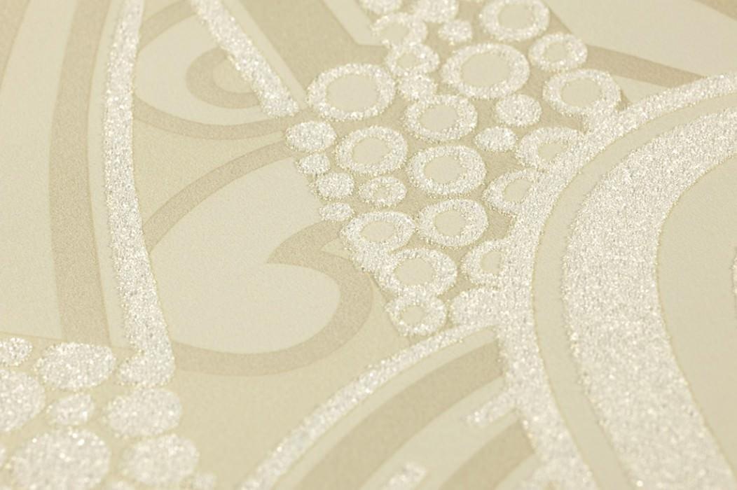 Carta da parati Kisum Brillante Art Deco Foglie stilizzate Fontane stilizzate Avorio chiaro Oro tenue Bianco crema Bianco crema brillante