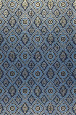 Papier peint William bleu brillant Largeur de lé