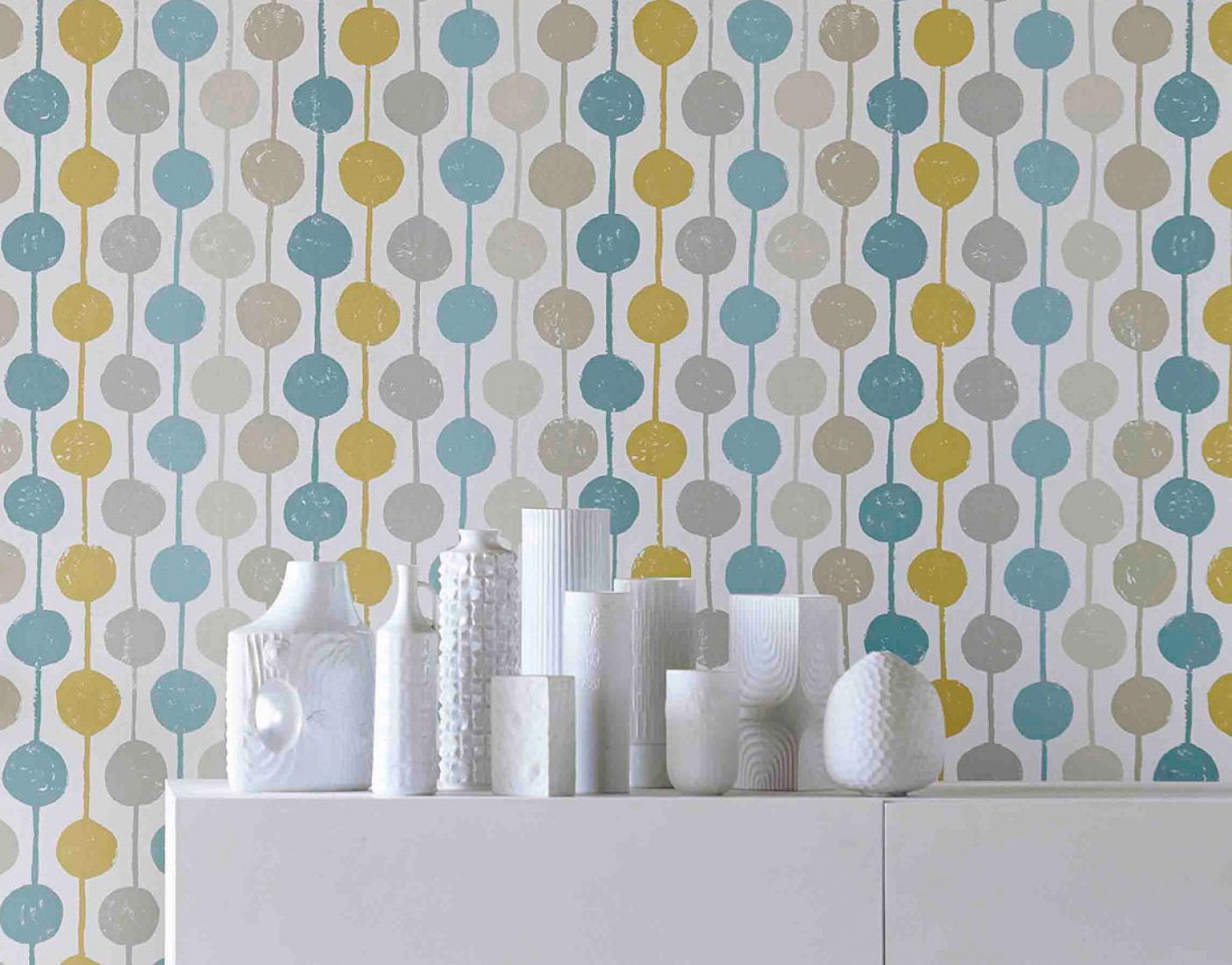 Wallpaper almeda cream beige mint turquoise ochre for Parati anni 70