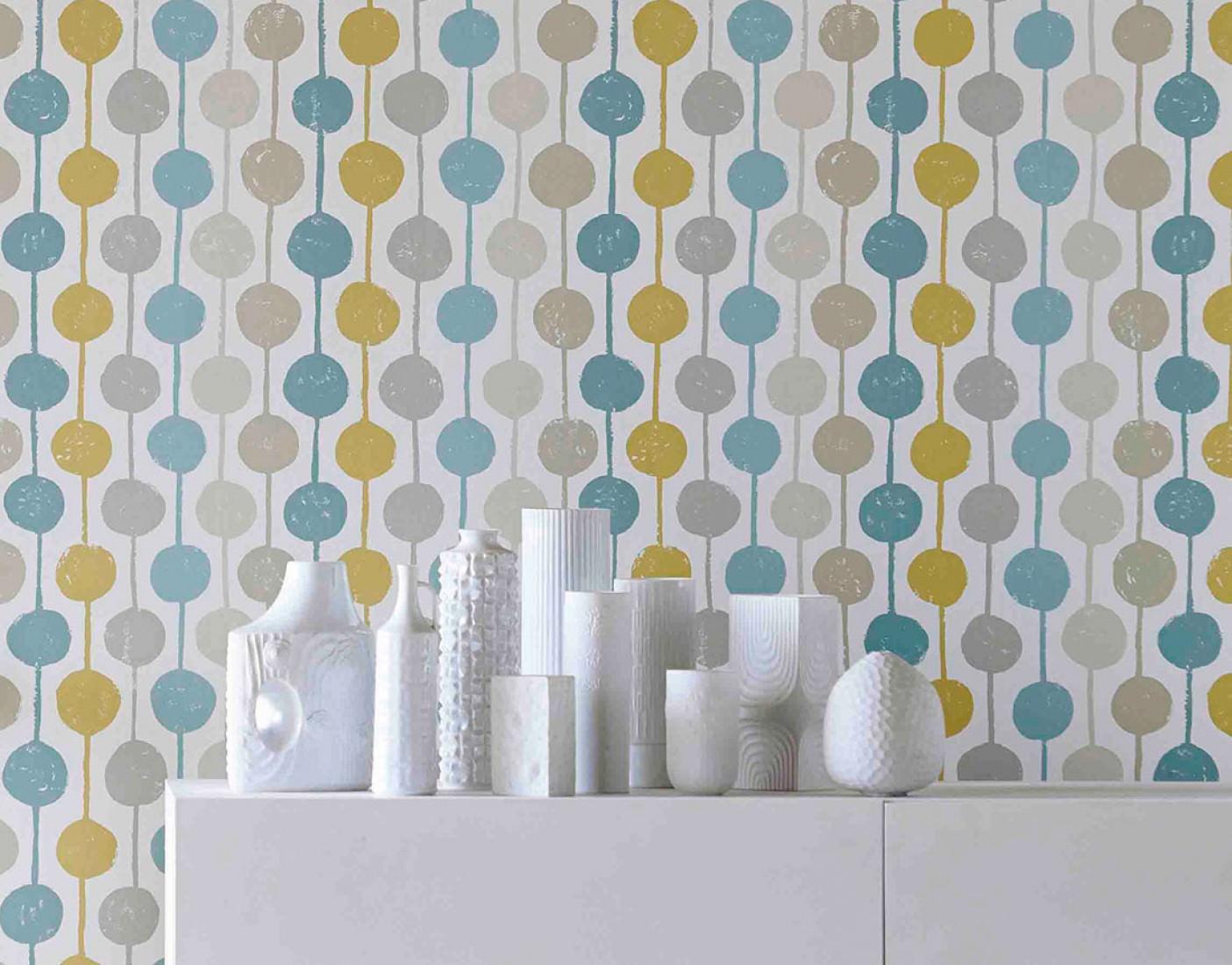 Wallpaper almeda cream beige mint turquoise ochre for Parati anni 70