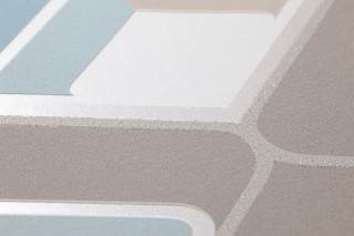 Wallpaper Corona Matt Retro elements Beige grey Pale beige grey glitter Cream Pastel turquoise