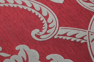 Wallpaper Amalia Matt pattern Shimmering base surface Baroque damask Crimson red Light beige grey