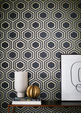 Wallpaper Malwin anthracite grey Room View