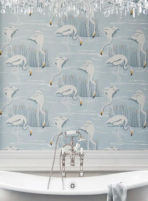 Wallpaper Helma Hand printed look Matt Flamingos Reeds Light blue Gold shimmer Grey Grey white Sand yellow