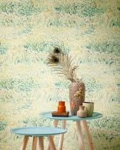 Wallpaper VanGogh Meadow Matt Flower meadow Green beige Yellow Coral red Mint turquoise