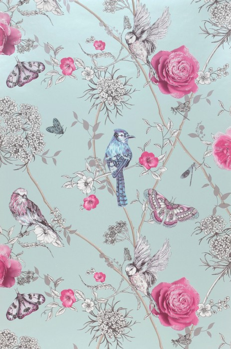 Wallpaper Mariola Glitter effect Matt pattern Shimmering base surface Butterflies Birds Branches with leaves and blossoms Pastel green Heather violet Grey beige Silver glitter Violet blue White