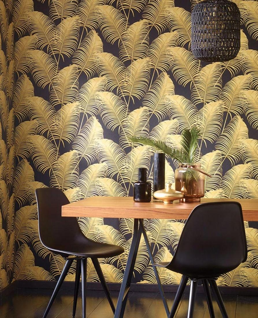 Milva negro amarillo arena papel pintado floral - Papeles de los 70 ...