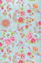 Wallpaper Ludmilla Matt Flowers Peacocks Pastel turquoise Strawberry red Yellow green Light blue White