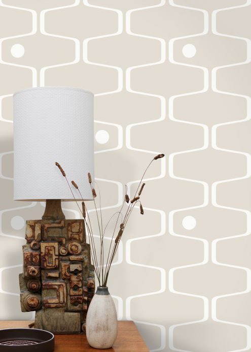 Vintage Wallpaper Wallpaper Nirvanus light grey beige Room View