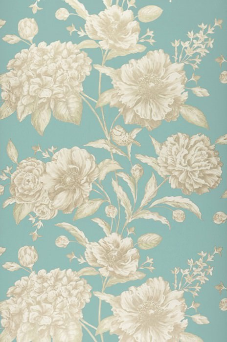 Wallpaper Syros Matt pattern Shimmering base surface Flower tendrils Birds Pastel turquoise Cream shimmer Gold shimmer Light ivory shimmer Pastel green